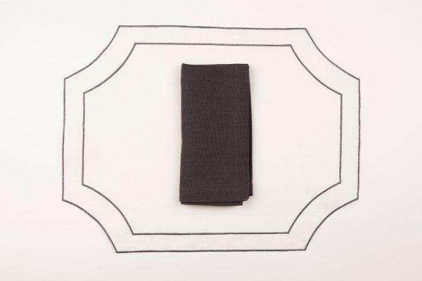 Individual Modelo Paloma - Bl/Gris con servilleta